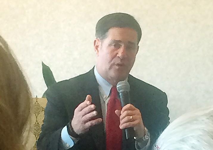 Gov. Doug Ducey speaks to a crowd in Prescott on Thursday, Feb. 13, 2020. (Tim Wiederaenders/Courier)