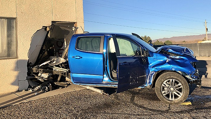 The Mohave County Sheriff's Office suspects it was a medical episode experienced by the 65-year-old driver of a Chevy truck which caused the vehicle to increase speed and eventually collide with a business on the corner of Van Nuys Road and Northern Avenue. (MCSO photo)
