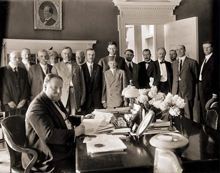 President William Howard Taft signs the bill admitting Arizona into the nation, Feb. 14, 1912. (Arizona Historical Society/Courtesy)