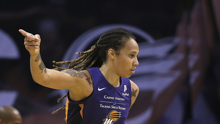 Phoenix Mercury center Brittney Griner points to a teammate after an assist during the first half of a game against the Seattle Storm Tuesday, Sept. 3, 2019, in Phoenix. (Ross D. Franklin/AP)