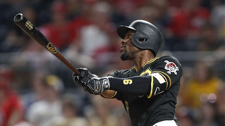 In this Aug. 20, 2019, file photo, Pittsburgh Pirates' Starling Marte hits a two-run home run in the eighth against the Washington Nationals in Pittsburgh. (Keith Srakocic/AP, File)