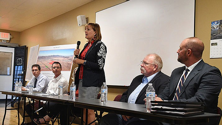 Rep. Regina Cobb (R-Kingman) speaks about the Rancho Santa Fe traffic interchange at a press conference held in June. City council could submit a grant application for the project at the meeting scheduled for Tuesday, Feb. 18. (Miner file photo)