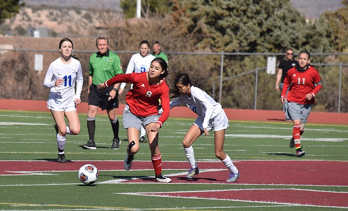 Mingus junior forward Angelina Cox dribbles past a Chief during the Marauders' 2-1 win over Thunderbird on Saturday at home. VVN/James Kelley