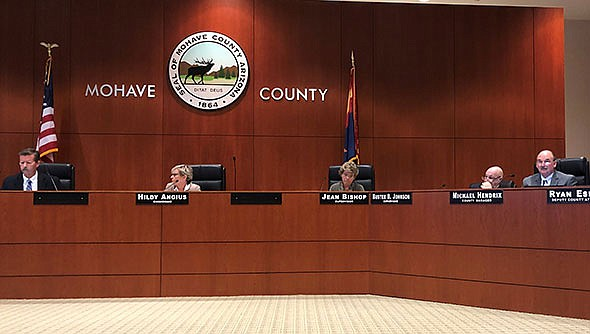 The Mohave County Board of Supervisors, shown above, will consider entering into a variety of contracts when it meets on Tuesday, Feb. 18 at 9:30 a.m. in the County Administration Building, 700 W. Beale St. (Miner file photo)