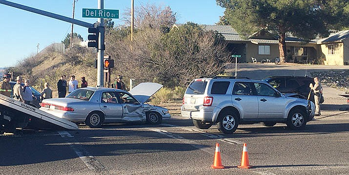 An two-vehicle collision at the intersection of State Route 260 and Del Rio Drive occurred at about 4:35 p.m. Friday, slowing traffic heading into Cottonwood. One person was taken to a hospital for non-life threatening injuries. VVN/Vyto Starinskas