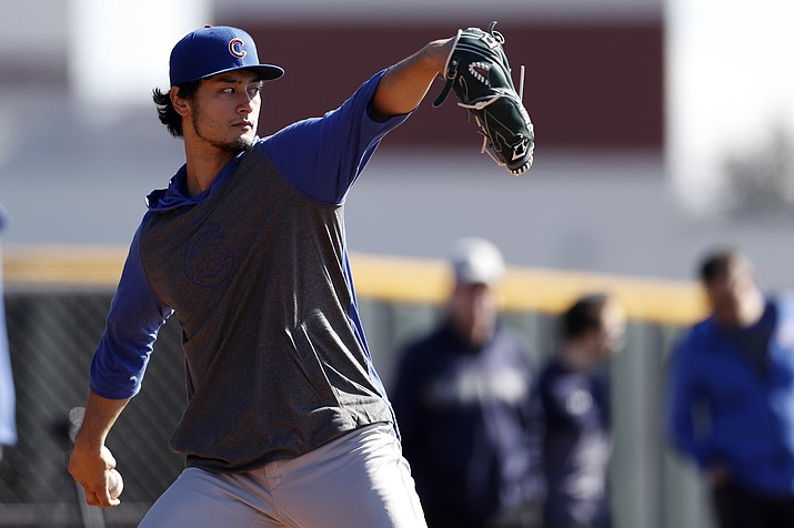 Chicago Cubs pitcher Yu Darvish throws during a spring training baseball workout Wednesday, Feb. 12, 2020, in Mesa, Ariz. (Gregory Bull/AP)