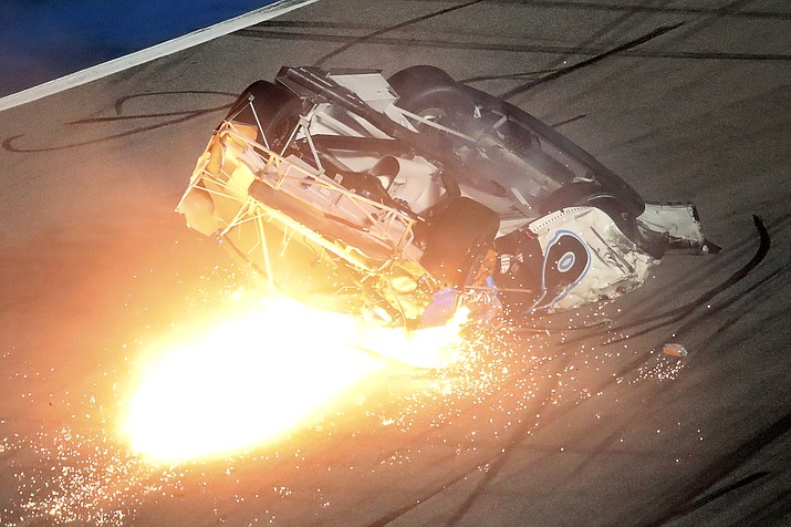 Ryan Newman slides down the track after he was involved in a crash on the final lap of the NASCAR Daytona 500 auto race at Daytona International Speedway, Monday, Feb. 17, 2020, in Daytona Beach, Fla. Sunday's race was postponed because of rain. (David Graham/AP)