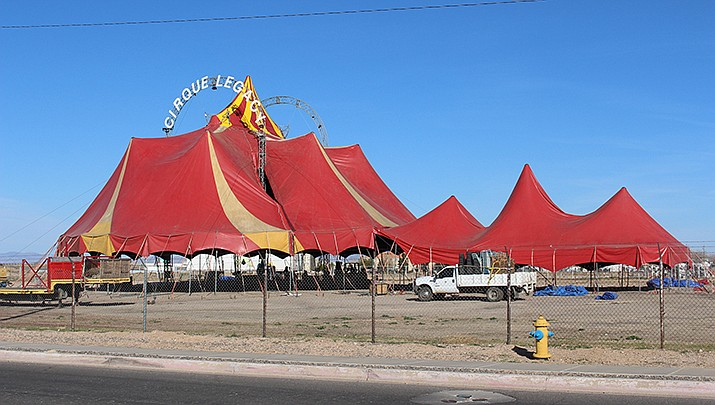 Cirque Legacy puts down stakes at the Mohave County Fairgrounds, 2600 Fairgrounds Ave., Kingman, on Monday, Feb. 17, 2020. There will be eight performances Thursday through Sunday, with a focus on acrobatics. (Photo by Agata Popeda/Kingman Miner)