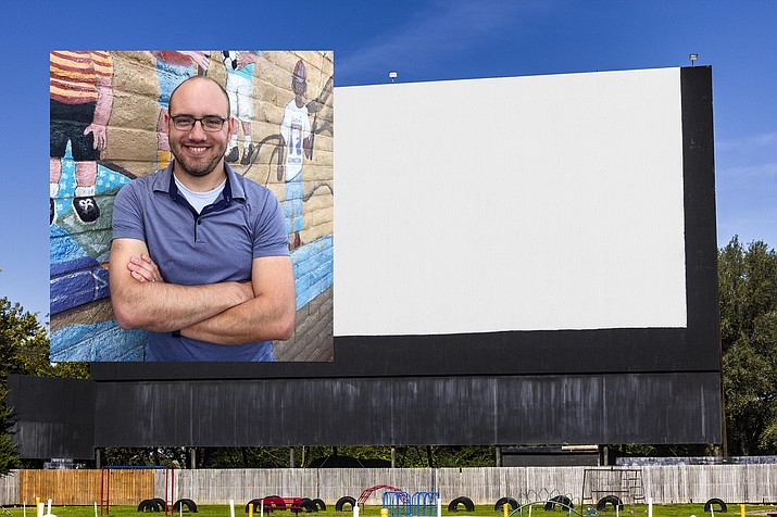 Cottonwood resident Dave Meyers plans to bring the drive-in movie theater experience back to the Verde Valley. In April, he plans to open the Verde Drive-In, a mobile movie theater on SR 260. Photo inset of Dave Meyers by Bill Helm. Photo of movie screen courtesy Adobe Stock Image.