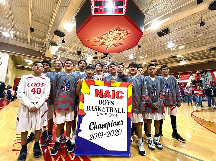 The Kayenta Middle School Colts won their fourth Northern Arizona Interscholastic Conference championship by defeating Chinle Jr. High School Feb. 8, in Kayenta, Arizona. (Photo/Calvin Stanley)