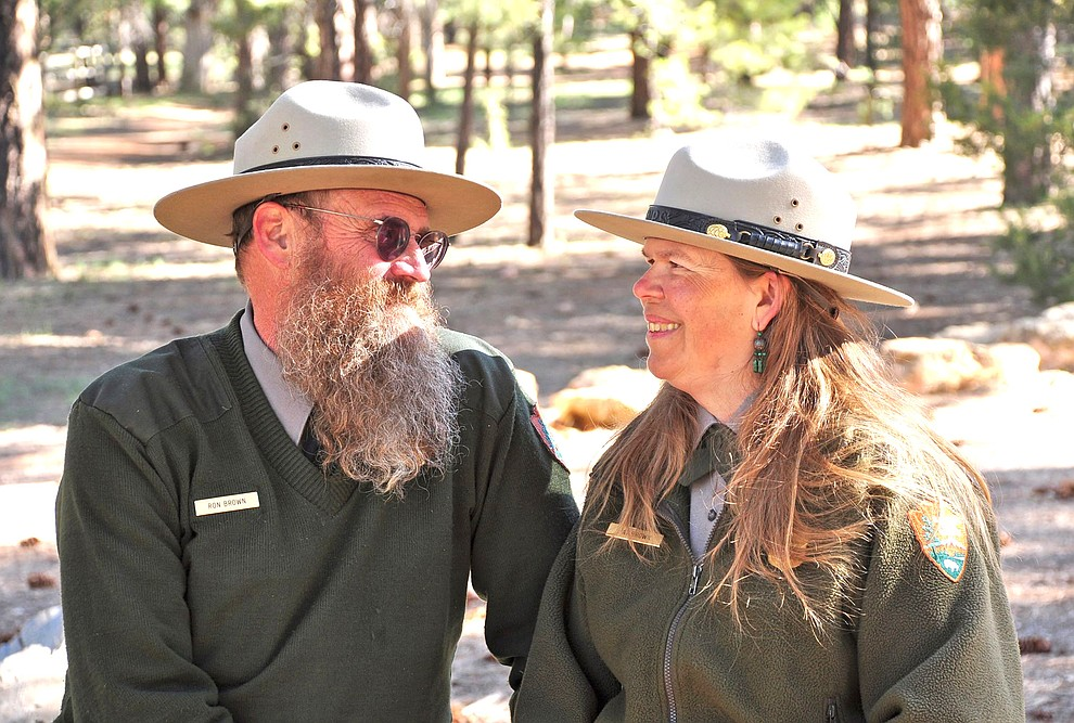 Ron and Pat Brown served as Rangers for Grand Canyon National Park. Both were honored with a lowering of the flag and a moment of silence at Grand Canyon Visitor's Center. (Mike Quinn/NPS)