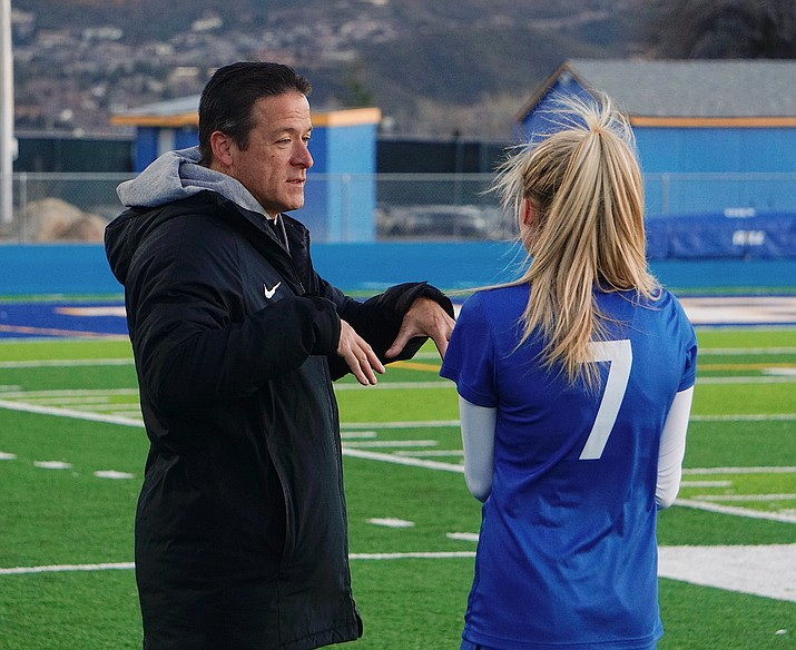 Prescott head coach Paul Campuzano has a word with forward Lily Jensen during a game against Bradshaw Mountain on Monday, Feb. 3, 2020, at Bill Shepard Field in Prescott. Campuzano was named 4A Grand Canyon Region Coach of the Year while Jensen was named 4A Grand Canyon Region Player of the Year. (Aaron Valdez/Courier)
