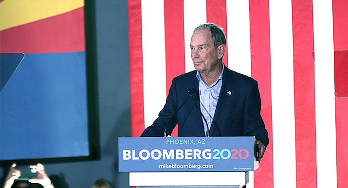Democratic presidential hopeful Michael Bloomberg has said offensive comments he made about women in the past were spoken in jest. ABC News reports that at least 17 women have taken legal action alleging workplace sexual harassment at his company over the past 30 years. (Photo by Farah Eltohamy/Cronkite News)