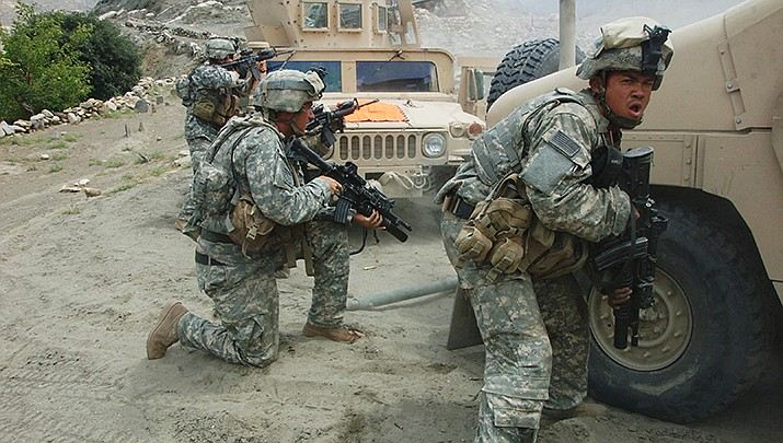 U.S. Army soldiers oppose Taliban forces near Allah Say, Afghanistan, on Aug. 20, 2007. The countdown to a peace agreement with the Taliban is on after 18 years of war. (Photo by Staff Sgt. Michael L. Casteel/U.S. Army , cc-by-sa-2.0, https://bit.ly/2T7DuXu)