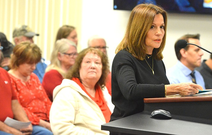 """Ellen Simon, one of the owners of Rimrock Properties, told the Yavapai County Board of Supervisors that """"there's a critical shortage of workforce housing in Yavapai County and Coconino County. We believe the essential aspects we'd provide serve the greater good."""" VVN/Vyto Starinskas"""