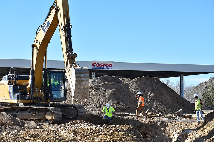 A new Costco gas station construction project is under way on the hill above the Costco parking lot. (Courier)