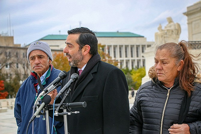 Attorney Cristobal Galindo spoke at the U.S. Supreme Court in December 2019 with the parents of Sergio Hernandez, a Mexican 15-year-old who was on the Mexican side of the border when he was shot and killed in 2010 by a Border Patrol agent standing in the U.S. The family is fighting for the right to sue the agent after a Border Patrol investigation claimed the shooting was justified; their hopes were dashed this week when the Supreme Court decided, by a 5-4 vote, that shootings across borders are international disputes, and cannot be the source of Amercian civil court lawsuits. (Photo by Amy-Xiaoshi DePaola/Cronkite News)