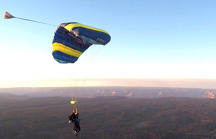 Paragon Skydiving has operated in Tusayan since 2016. They provide tandem skydives for tourists and residents. (Photo courtesy of Paragon Skydiving