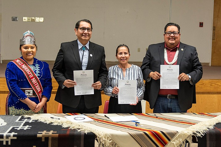 Navajo leaders gather in Window Rock to sign a proclamation encouraging public participation in the 2020 Census. From left: Miss Navajo Nation Shaandiin Parrish, President Jonathan Nez, Chief Justice JoAnn Jayne and Speaker Seth Damon. (Photo/OPVP)