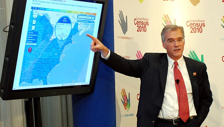 A U.S. Census Bureau official points to a map before the 2010 census. The 2020 count starts in March. (Public domain)