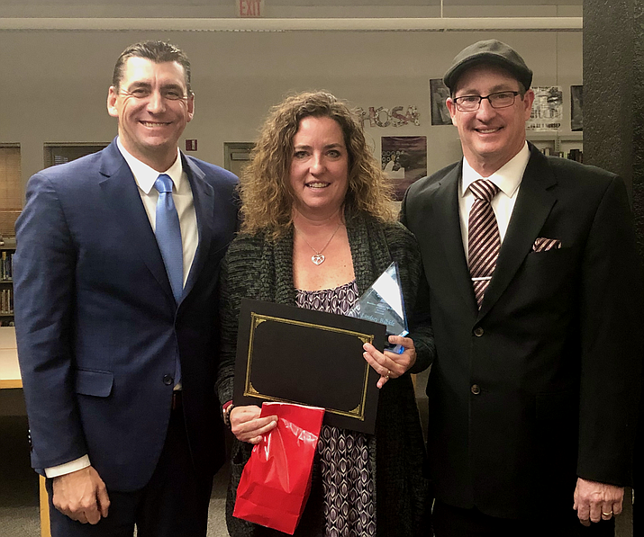 Lindsey Buckle is the Teacher of the Month for the Humboldt Unified School District. Pictured with her are Superintendent Dan Streeter, left, and Principal Kort Miner. (HUSD/Courtesy)