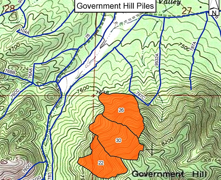 Kaibab National Forest will be conducting pile burns Feb. 26 on 78-acres near the communities of Spring Valley, Pumpkin Center and Parks. (Map/Kaibab National Forest, USFS)