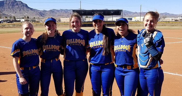 Kingman picked up its first win of the season Wednesday in a 4-3 decision over Lee Williams. From left are Lady Bulldogs seniors Madi Bell, Anastasia Tanner, Morgan Stephens, Jimena Caudillo, Jordyn Dan and Jazymn Robertson. (Courtesy)