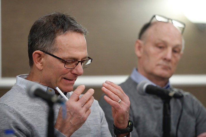 Tad Deluca, a University of Michigan wrestler from the 1970s, speaks during a news a news conference Thursday, Feb. 27, 2020, and identified himself as the whistleblower whose 2018 complaint about the late Dr. Robert E. Anderson led to a police investigation. He says he was kicked off the team and lost his financial aid after complaining to a coach that he had been abused by a sports doctor. (Carlos Osorio/AP)
