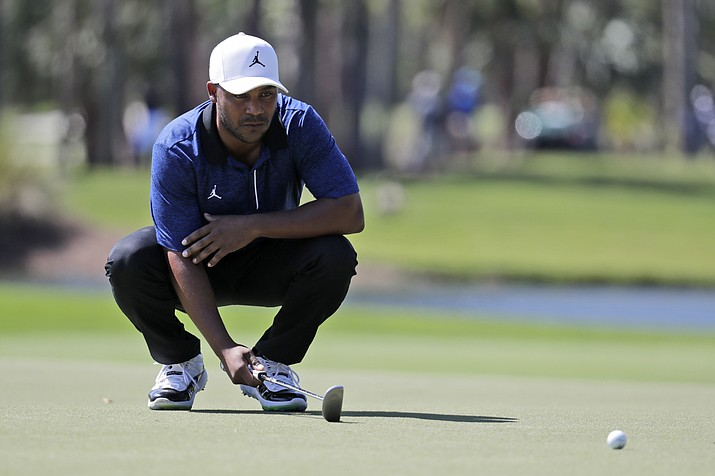 Harold Varner III lines up a putt on the eighth hole during the first round of the Honda Classic Thursday, Feb. 27, 2020, in Palm Beach Gardens, Fla. (Lynne Sladky/AP)