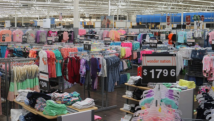 Wood flooring and a wider selection in the apparel section is part of the remodel underway at the Walmart in Kingman. (Photo by Travis Rains/Kingman Miner)