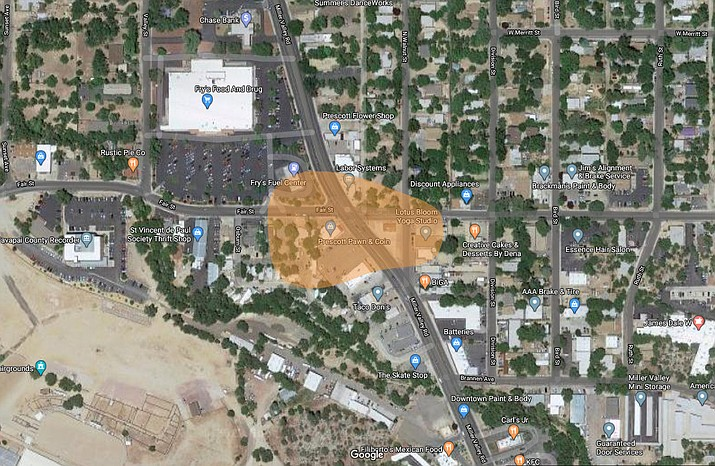 An ongoing environmental investigation by the Arizona Department of Environmental Quality (ADEQ) has found remains of harmful chemicals, which were used in past dry-cleaning operations, at the intersection of Miller Valley Road and Hillside Avenue, near the Miller Valley Fry's gas station. (Matt Van Doren/Courier, illustration)
