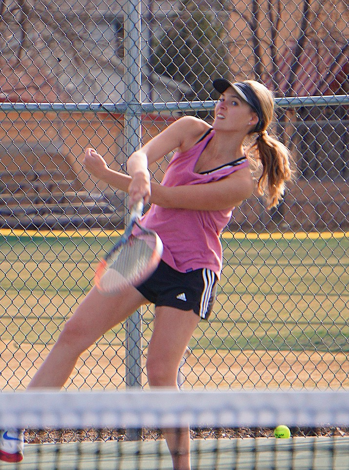 Prescott's Abby Stoecker serves the ball during a practice on Thursday, Feb. 27, 2020, at the Prescott tennis courts. (Aaron Valdez/Courier)