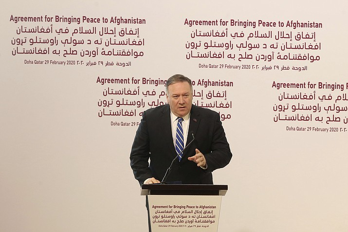 Secretary of State Mike Pompeo speaks during the agreement signing between Taliban and U.S. officials in Doha, Qatar, Saturday, Feb. 29, 2020. The United States is poised to sign a peace agreement with Taliban militants on Saturday aimed at bringing an end to 18 years of bloodshed in Afghanistan and allowing U.S. troops to return home from America's longest war. (Hussein Sayed/AP)