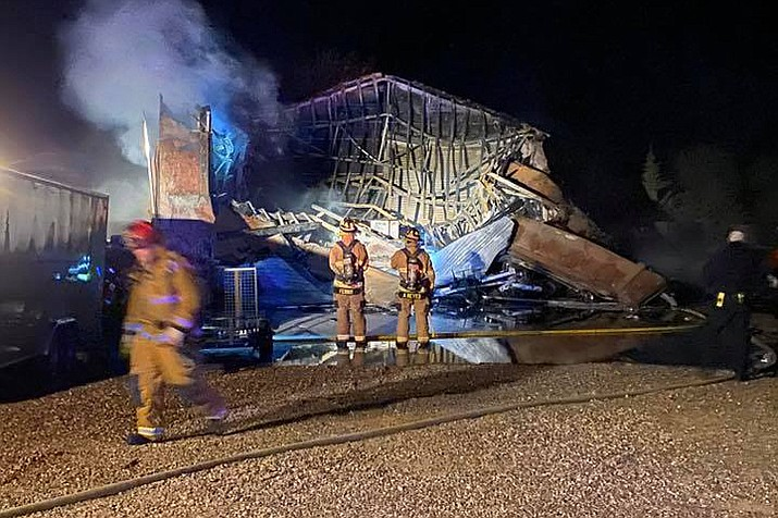 Central Arizona Fire and Medical units are currently on scene of a garage fire in the Inscription Canyon subdivision in Williamson Valley. (CAFMA/Courtesy)