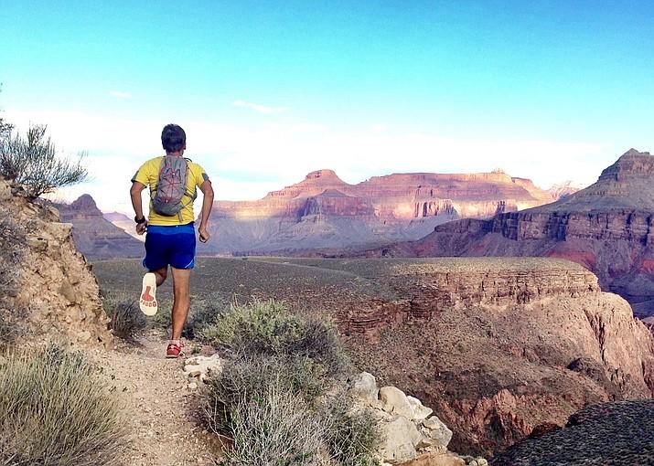 Benedict Dughoff runs the Tonto Trail. The Tonto Trail runs horizontal, connecting several Grand Canyon corridor trails. (Photo courtesy of Benedict Dughoff)