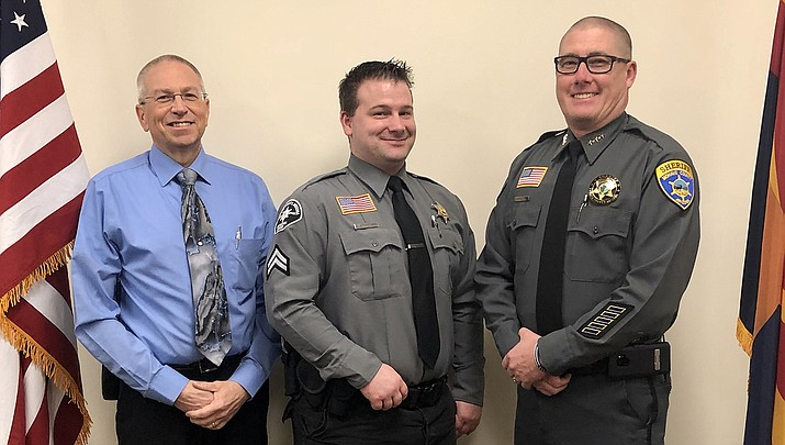 Cody Stephenson, center, has been promoted to corporal in his duties at the Mohave County Adult Detention Center. (MCSO courtesy photo)