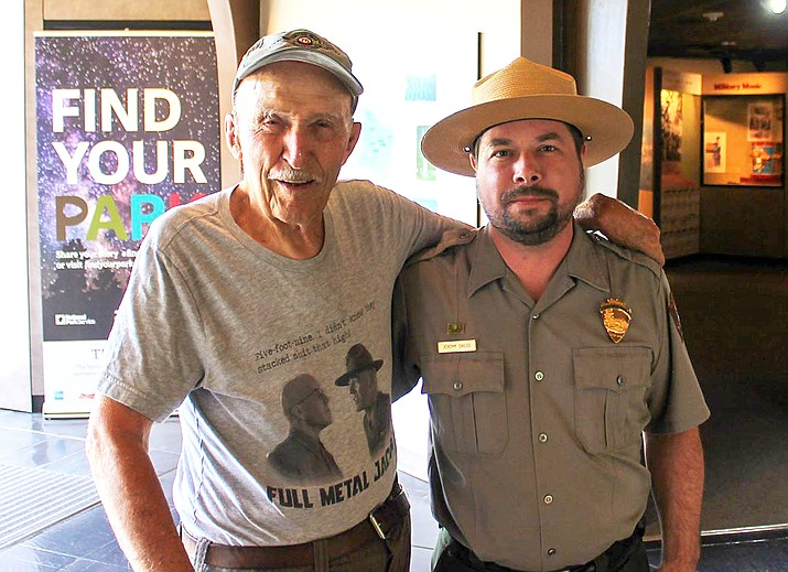 Grand Canyon National Park Ranger Jeremy Childs (right) with Ed Bearss, former NPS Chief Historian and namesake of the Bearss Fellowship. (Photo/Mike Quinn, NPS)