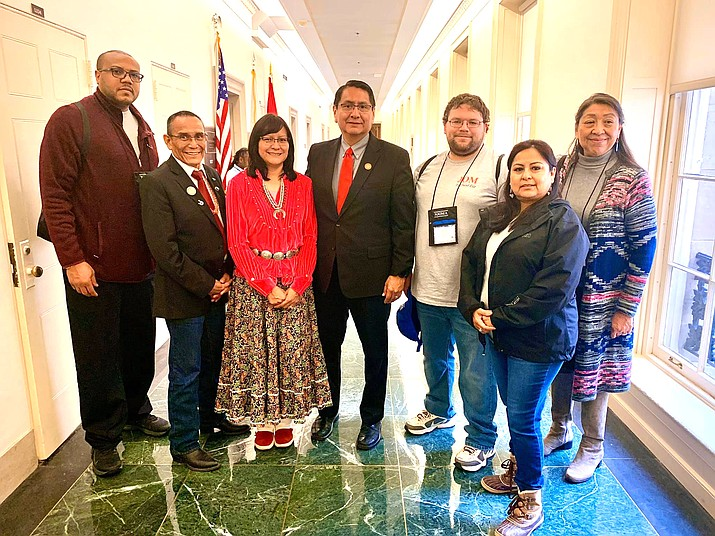 While meeting with Congressional members on Capitol Hill Nez and Council Delegate Pernell Halona met the Winslow School District members congratulating them in person. (Photo/Office of the President and Vice President)