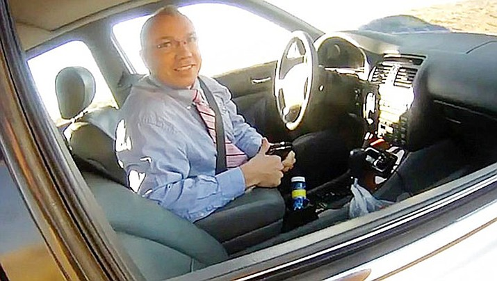 State Rep. Paul Mosley came under fire after video surfaced July 10, 2018, of a March 2018 traffic stop in which he appeared to brag to a sheriff's deputy about driving as fast as 130 or 140 mph. Mosley was pulled over for speeding, and the deputy said in a report later that the driver claimed to have legislative immunity. (La Paz County Sheriff's Office/KLPZ/ParkerLiveOnline via AP, file)
