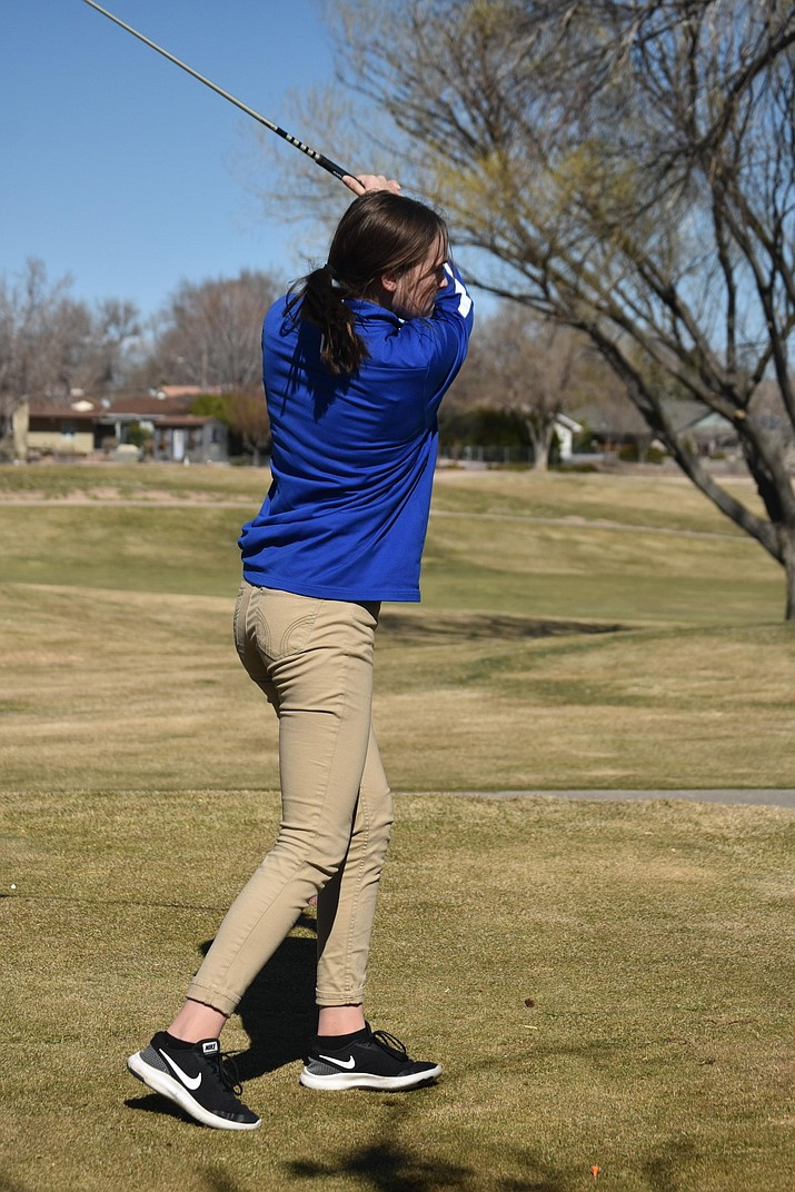 Chino Valley golfer Lindsey tenBerge tees off during a 4-way match against Wickenburg, Sedona Red Rock and Williams on Wednesday, March 4, 2020, at Antelope Hills Golf Course in Prescott. (Jerry Behm/Courtesy)
