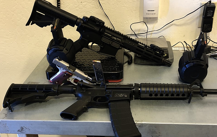 These rifles were seized this week with the help of a Yavapai County Sheriff's Office K9 deputy during a traffic stop on I-40 in the Ash Fork area. Courtesy of YCSO