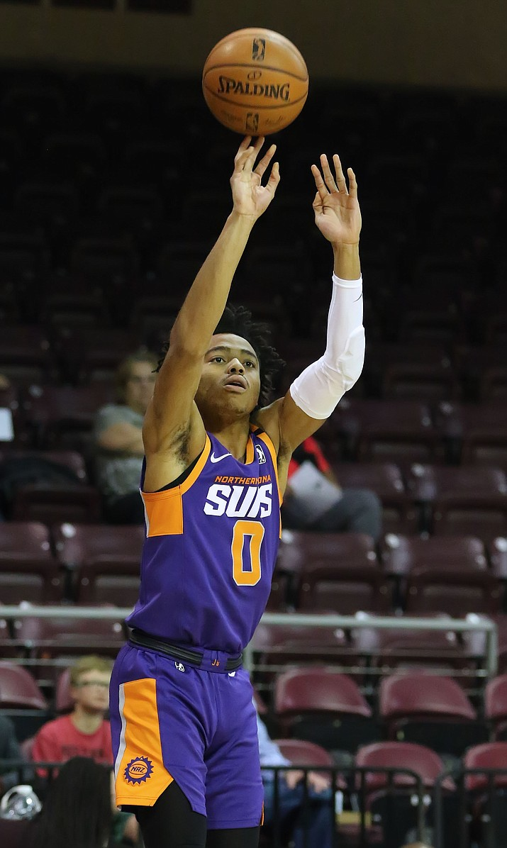 NAZ Suns guard Jalen Lecque (0) pulls for a jump shot during a game against the Iowa Wolves on Wednesday, March 4, 2020, at the Findlay Toyota Center in Prescott Valley. (Matt Hinshaw/NAZ Suns)