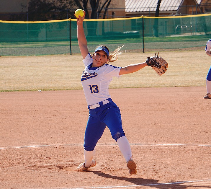 Prescott pitcher Makayla Reyes (13) tosses a pitch during a game against Shadow Mountain on Thursday, March 5, 2020, in Prescott. (Aaron Valdez/Courier)