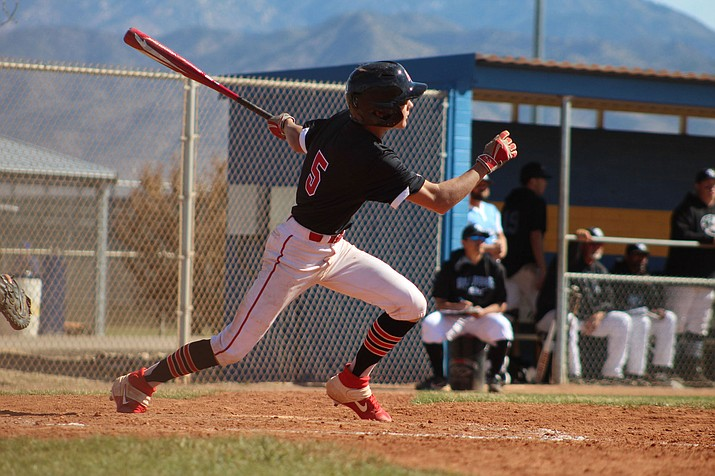 Rye Samson tallied the Vols' only base hit Saturday in an 8-0 loss to Gila Ridge in the championship game of the Kingman Invitational. (Photo by Beau Bearden/Kingman Miner)