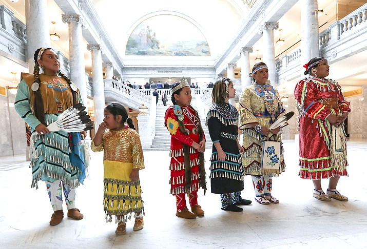 Jingle Dress dancers are pictured during an event to raise awareness for HB116 in the Capitol rotunda in Salt Lake City March 3. The bill would create a Murdered and Missing Indigenous Women and Girls Task Force. (Steve Griffin/The Deseret News via AP))