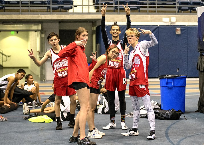 Phantoms track and field members enjoy themselves at the NPA Skydome Classic track and meet March 7. From left: Grand Canyon freshmen Jafet Torres and Skadi Lyle, freshmen and sophmores Citlalli Torres, Seth Rivera and Felix Christiansen. (V. Ronnie Tierney/WGCN)