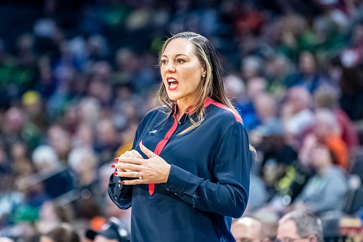Arizona coach Adia Barnes has turned the Wildcats program around and led the team to a Pac-12 tournament victory over California in Las Vegas. (Photo by Nathan Hiatt/Cronkite News)