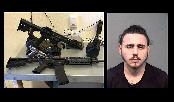 Left: Yavapai Sheriff's Office K-9 Deputy seize firearms, fully loaded drum magazines, likely tied to a criminal operation. Right: Deven Hamilton, 25, was in the vehicle that was carrying the firearms. (Photo/YCSO)
