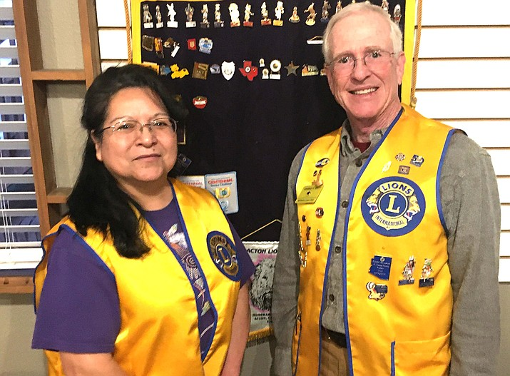 During a recent meeting Williams Lions Club President George Watt inducted Patricia Helgeson into the club. (Submitted photo)