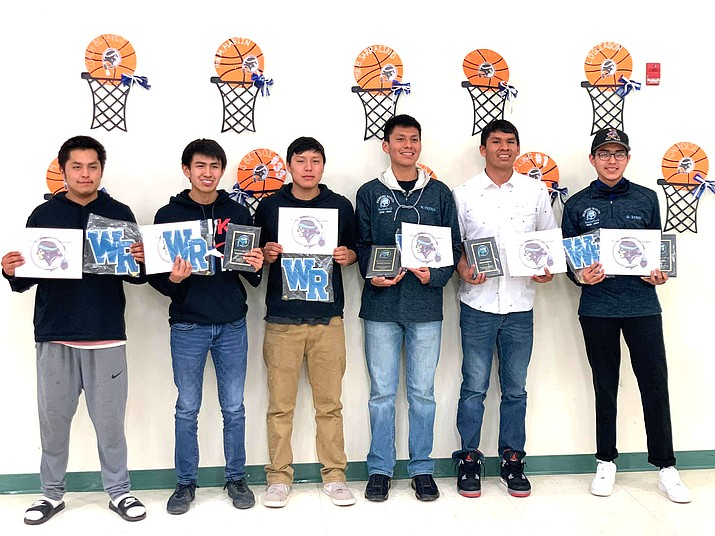 The Window Rock Fighting Scouts display their certificates of achievement at the basketball banquet March 5 in Window Rock. (Photo/Office of the President and Vice President)